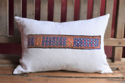 cushion made from antique french linen and mirrored embroidery piece